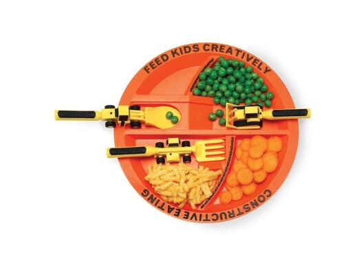 Constructive Eating Construction Combo Set -(4 pieces) Plate and 3 Utensils