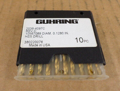 Lot Of 10 Guhring 2038-4097c Rev. C 0.1280 Hss Drills