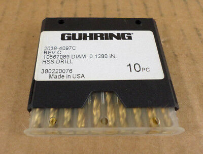 Lot Of 10 Guhring 2038-4097c Rev. C 0.1280 Hss Drills