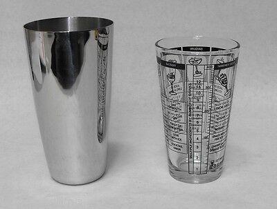 (2-Piece)  BOSTON SHAKER SET Printed Mixing Glass & Stainless Shaker Tin Bar (Boston Shaker)
