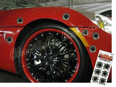 6 Removable Large Bullet Hole Vinyl Car Helmet Stickers Decals 4.5cm Diameter