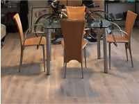 Italian-style extendable, glass dining room table