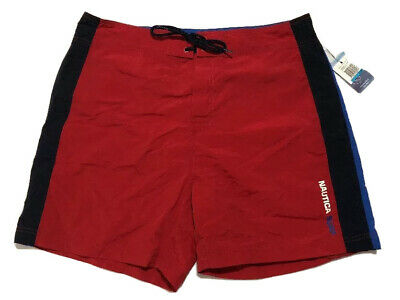 Nautica Swim trunks Surf Board Shorts Red Blue Size 36 Packable Trunks NEW