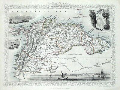 PANAMA, VENUZUELA, ECUADOR, GUYANA, S.AMERICA, RAPKIN & TALLIS antique map c1850