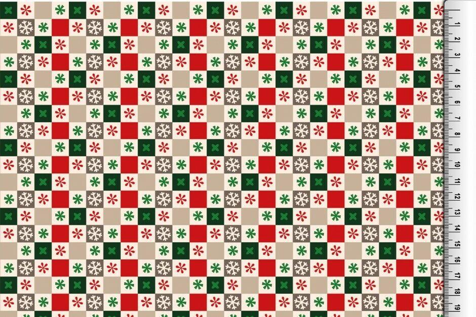 Weihnachts Stoffe Jersey & Baumwolle & Sweat / 28 Motive Meterware Weihnachten Baumwolle Quadrat creme/grün/rot