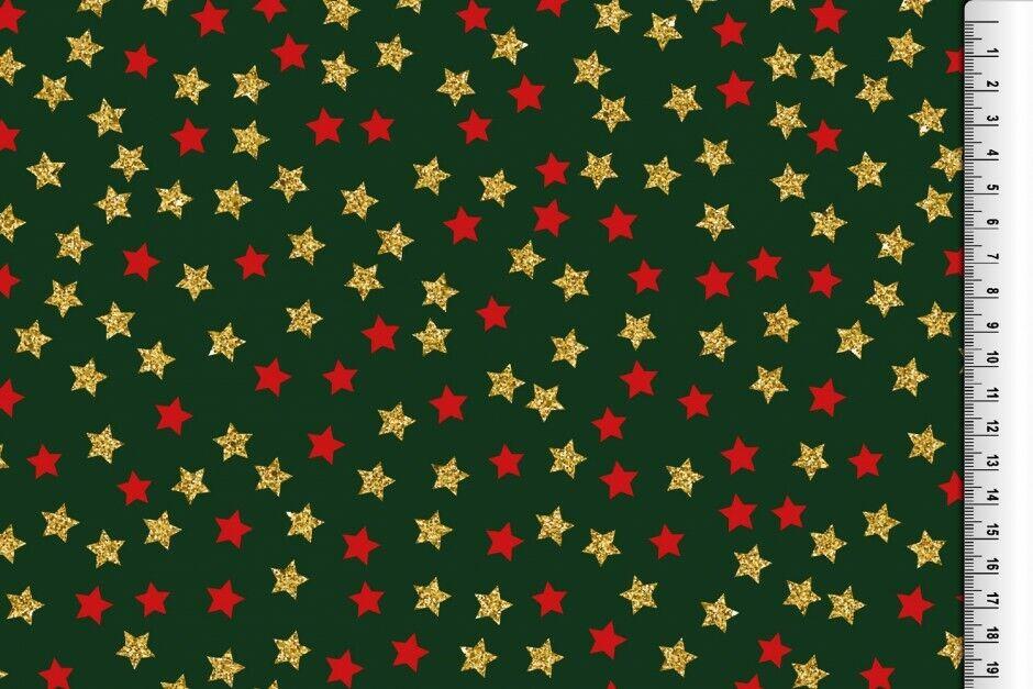 Weihnachts Stoffe Jersey & Baumwolle & Sweat / 28 Motive Meterware Weihnachten BW Glitzer Sterne grün