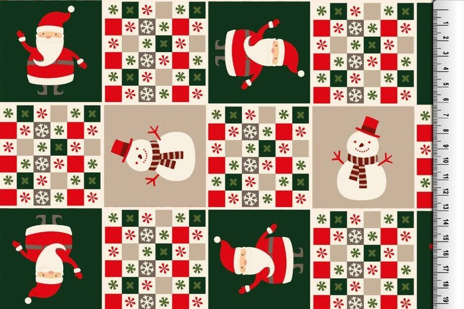 Weihnachts Stoffe Jersey & Baumwolle & Sweat / 28 Motive Meterware Weihnachten Baumwolle Weihnachtsmann grün