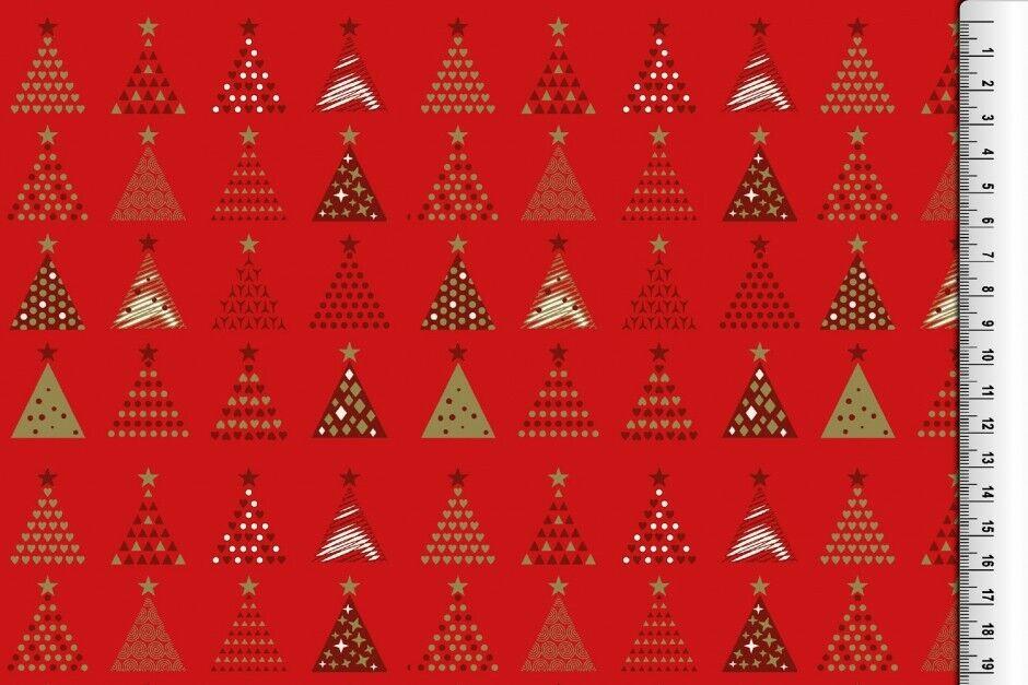 Weihnachts Stoffe Jersey & Baumwolle & Sweat / 28 Motive Meterware Weihnachten Baumwolle Tannenbaum rot/rot
