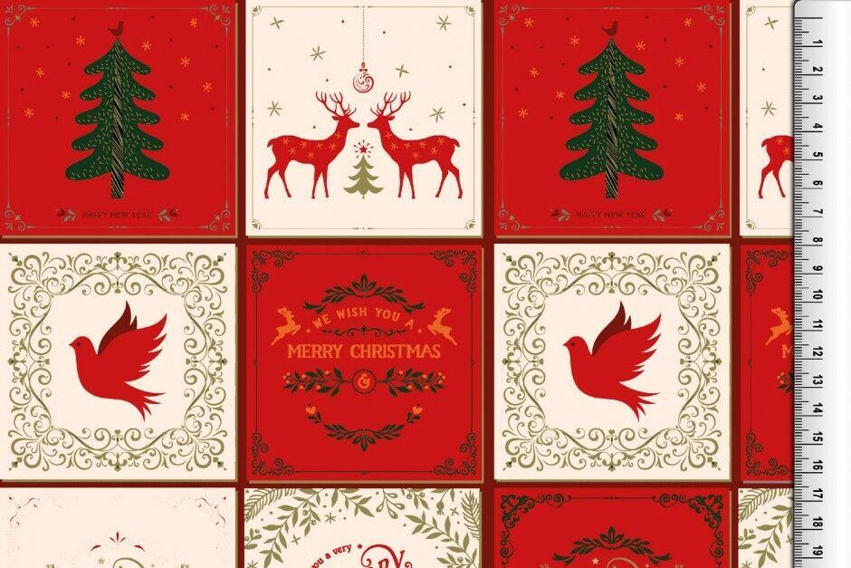 Weihnachts Stoffe Jersey & Baumwolle & Sweat / 28 Motive Meterware Weihnachten Baumwolle Weihnachten rot/creme