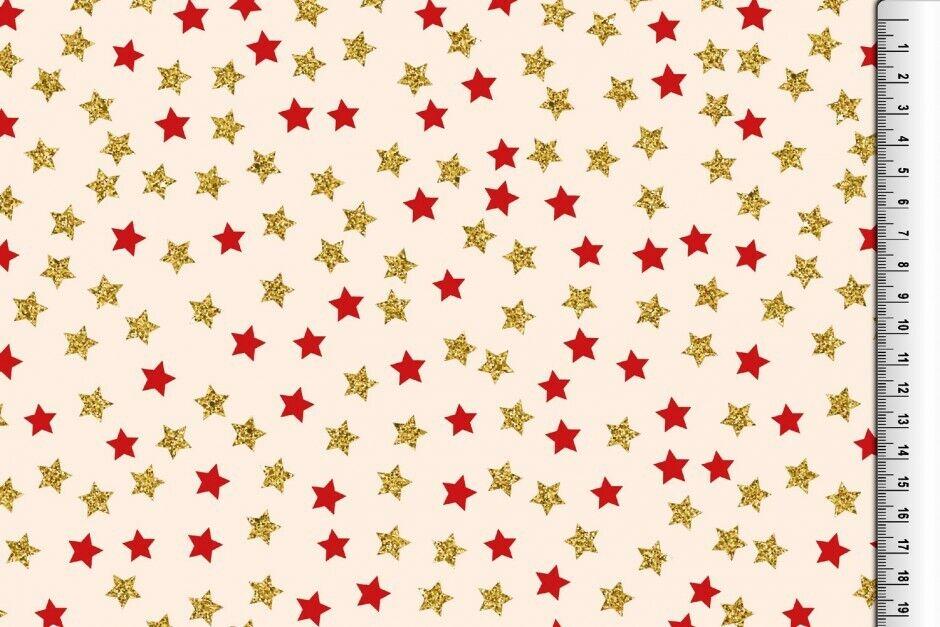 Weihnachts Stoffe Jersey & Baumwolle & Sweat / 28 Motive Meterware Weihnachten BW Glitzer Sterne creme