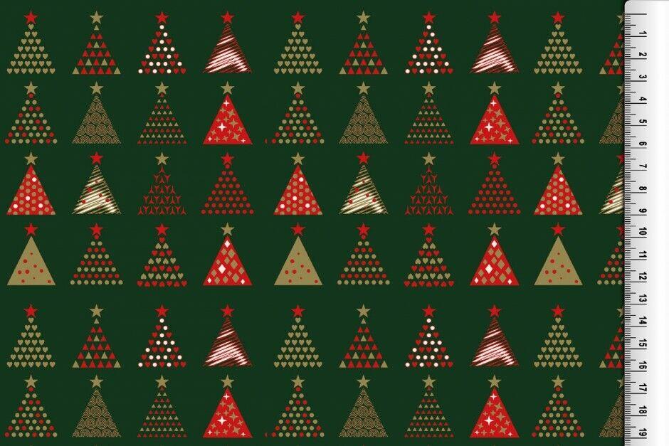 Weihnachts Stoffe Jersey & Baumwolle & Sweat / 28 Motive Meterware Weihnachten Baumwolle Tannenbaum grün