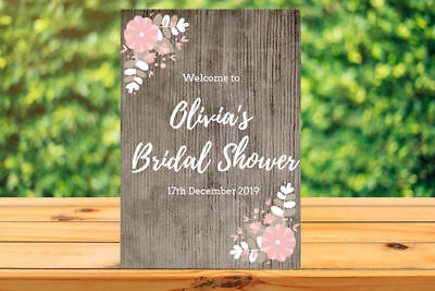 Printable Custom Personalised Bridal Shower/Baby Shower WELCOME SIGN rustic for sale  Shipping to United States