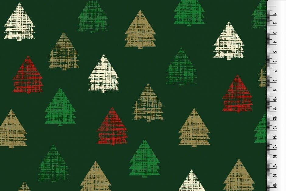 Weihnachts Stoffe Jersey & Baumwolle & Sweat / 28 Motive Meterware Weihnachten Baumwolle Tannenbaum grün/creme