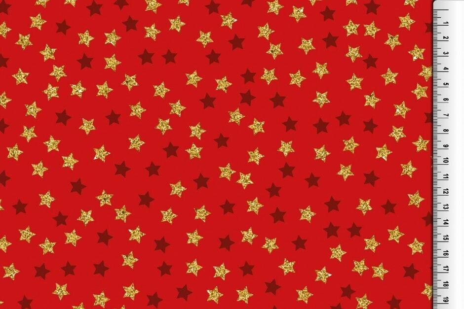 Weihnachts Stoffe Jersey & Baumwolle & Sweat / 28 Motive Meterware Weihnachten BW Glitzer Sterne rot