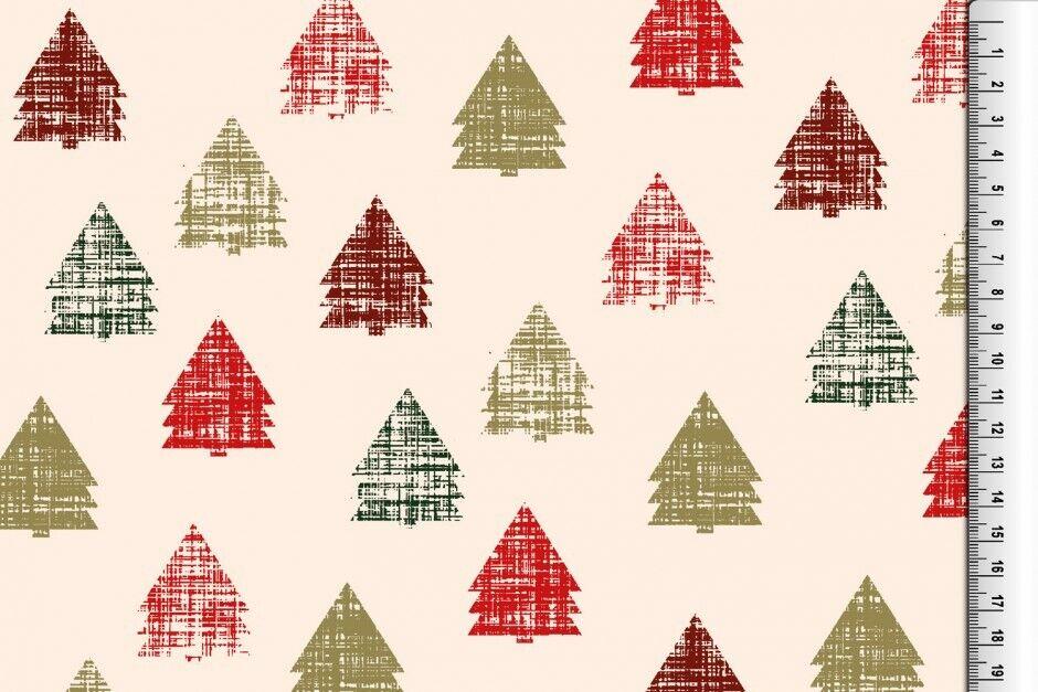 Weihnachts Stoffe Jersey & Baumwolle & Sweat / 28 Motive Meterware Weihnachten Baumwolle Tannenbaum creme/rot