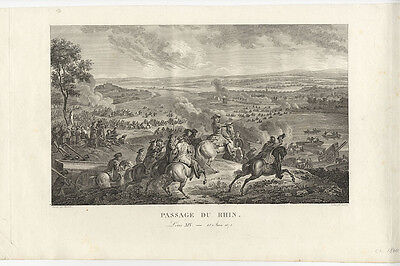 Holländischer Krieg: Überquerung des Rheins bei Lobith (12.6.1672).- Kupferstich