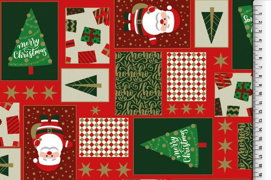 Weihnachts Stoffe Jersey & Baumwolle & Sweat / 28 Motive Meterware Weihnachten Baumwolle Weihnachtsmann rot/grün