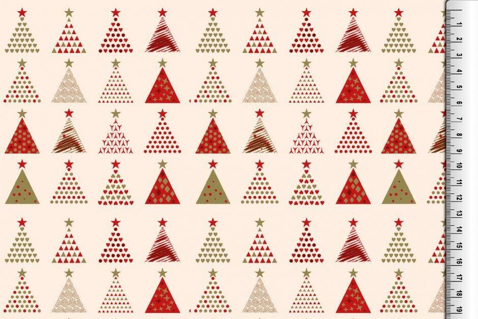 Weihnachts Stoffe Jersey & Baumwolle & Sweat / 28 Motive Meterware Weihnachten Baumwolle Tannenbaum creme