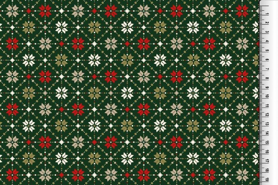 Weihnachts Stoffe Jersey & Baumwolle & Sweat / 28 Motive Meterware Weihnachten Baumwolle Rauten grün