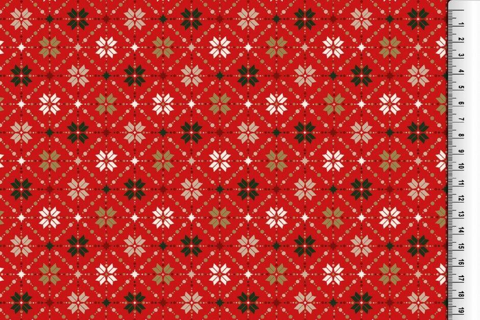 Weihnachts Stoffe Jersey & Baumwolle & Sweat / 28 Motive Meterware Weihnachten Baumwolle Rauten rot