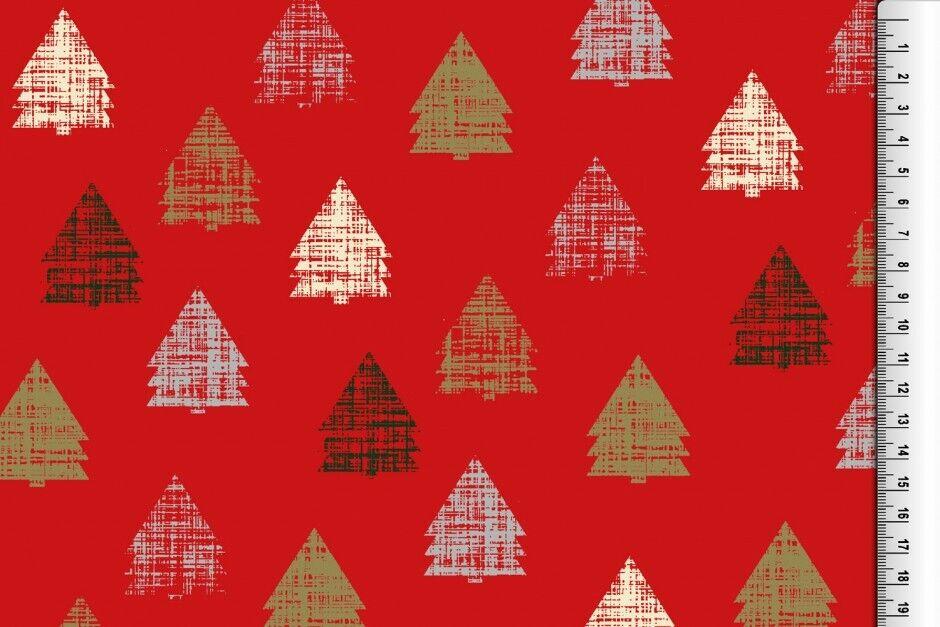 Weihnachts Stoffe Jersey & Baumwolle & Sweat / 28 Motive Meterware Weihnachten Baumwolle Tannenbaum rot/creme