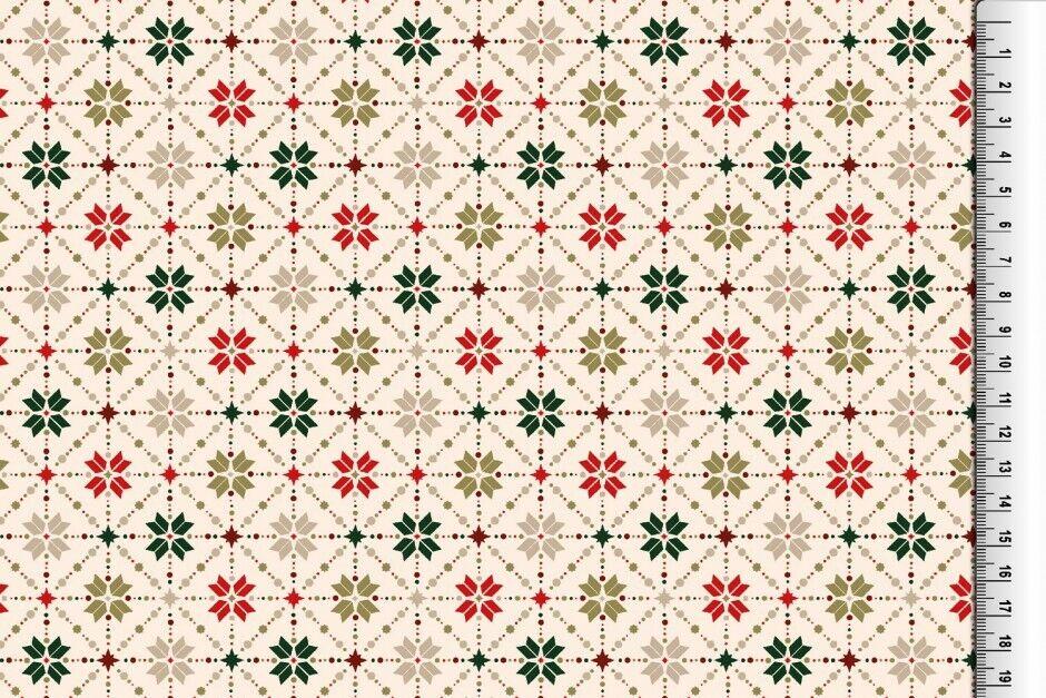 Weihnachts Stoffe Jersey & Baumwolle & Sweat / 28 Motive Meterware Weihnachten Baumwolle Rauten creme