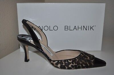 MANOLO BLAHNIK PLOIE Patent Leather Pony Hair Calf Leopard Slingback Shoe 36.5