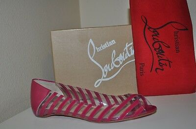 NIB CHRISTIAN LOUBOUTIN A6 PVC Specchio PINK/clear Open-toe Flat Shoes 38.5 - 8