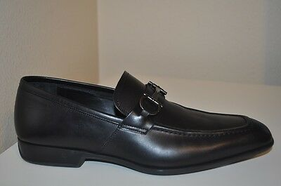 $595+ Salvatore Ferragamo Santino Bit Loafer Slip On Shoe Black Leather Sz 8 men