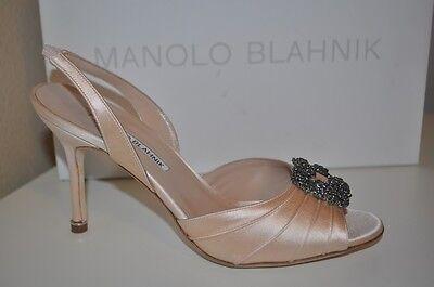 NIB MANOLO BLAHNIK CASSIA Open Toe Slingback Pump Shoe Blush Satin 37.5 / 6.5