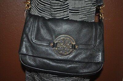 $435+ Tory Burch AMANDA Logo Crossbody Flap Foldover Bag Purse BLACK Leather