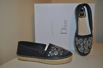 NIB Christian DIOR Double Sole RIVIERA Blue Jean EMBROIDERED Espadrille Shoe 36