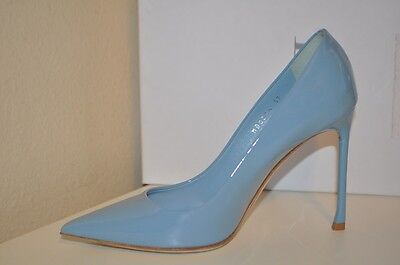 NIB $660+ Christian Dior BLUE Pointy Toe Pump Heel Shoe Patent Leather 37 - 7