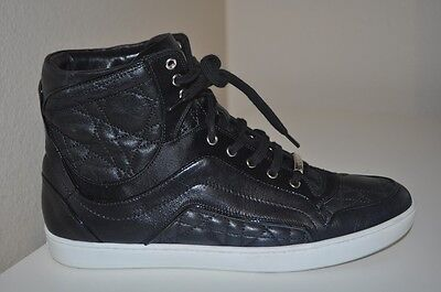 Christian Dior Black Leather Lace Up High Top Sneakers Shoe Running Cannage 37.5