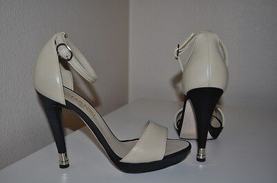 CHANEL Leather & Satin Two Tone Platform Ankle Strap Sandal Shoes Beige Black - Black Leather Look Ankle Strap