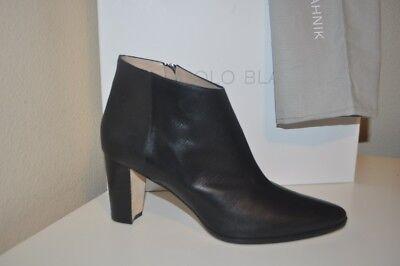 NIB MANOLO BLAHNIK Brusta Low Cut Ankle Bootie Boot Block Heel Shoe 40 -10 Black