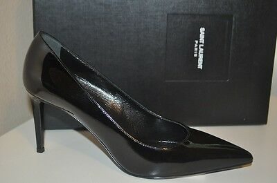 YSL SAINT LAURENT PARIS 80mm Skinny Pointy Toe Pump Shoe Black Patent 38.5 - 8.5