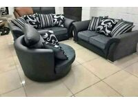 Shannon 3&2 Seater Sofa With Matching Cuddle Chair (Leather & Chenille Fabric)