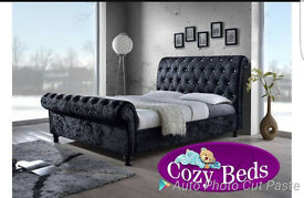 DOUBLE CHESTERFIELD Crushed sleigh bed frame and SPRING MEMORY FOAM or ORTHOPAEDIC Mattress set.