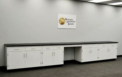 17' Fisher Base Laboratory Cabinets w/ Desk Area and Counter Tops - R for sale  Rockford