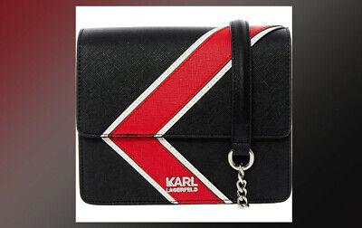 NEW Karl Lagerfeld Black Red stripes small across body shoulder bag Rrp £205