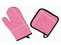 Oven Glove Pink With Black Trim & Matching Pot Holder - NEW