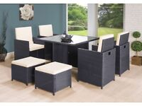 garden furniture - Rattan table and chairs 8 seater set