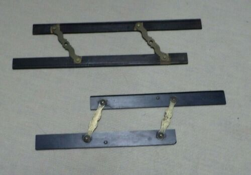 2 Antique Parallel Ruler Ebony & Brass Maritime Naval