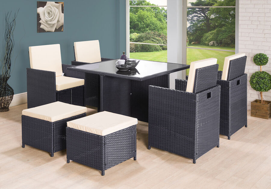 Garden Furniture - RATTAN GARDEN FURNITURE CUBE SET CHAIRS TABLE OUTDOOR PATIO