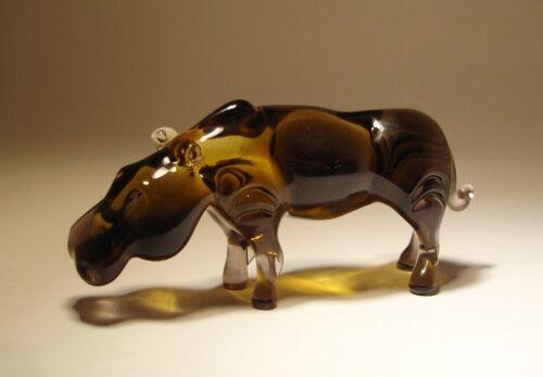 Blown Glass Figurine Animal Brown Hippo Hippopotamus