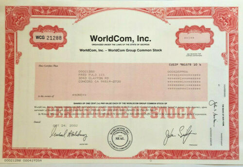 WorldCom stock certificate > infamous scandal accounting fraud