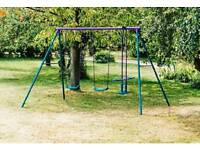 Plum Double Swing Set With Glider new