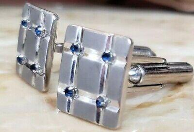 TUXEDO CUFFLINKS  - Brushed Silver with Sapphire stones Retail (Sapphire Tuxedo)