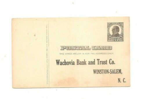 1911 preprinted postal card Wachovia Bank and Trust Company